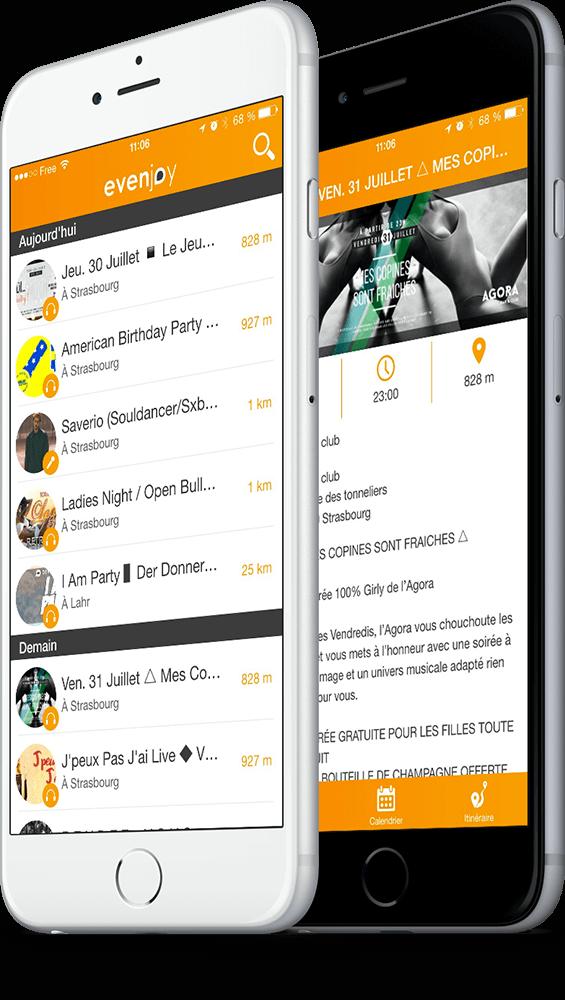Ecran de l'application mobile Evenjoy